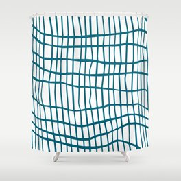 Net Blue on White Shower Curtain