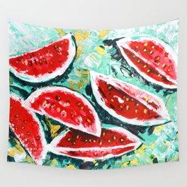 watermelon acrylic art Wall Tapestry