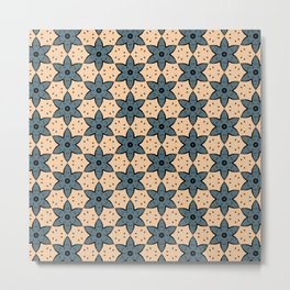 Blue Flower Kaleidoscope Pattern on Beige Background Metal Print