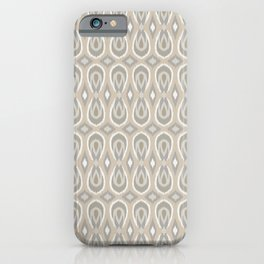 Ikat Teardrops in Tan and Gray iPhone Case