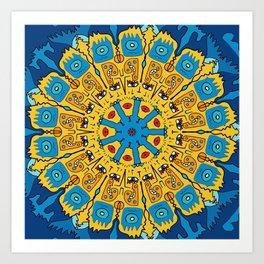 Inca Blue Yellow Pop Mandala Pattern Art Print