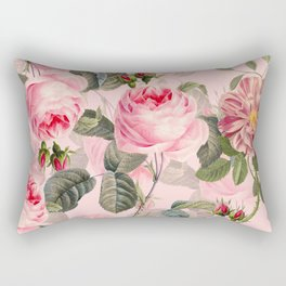 Vintage & Shabby Chic - Summer Roses Flower Garden Rectangular Pillow