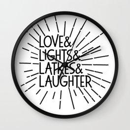 LOVE & LIGHTS & LATKES & LAUGHTER Hanukkah ampersand design Wall Clock