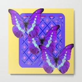 Three Purple Butterflies on Purple &Yellow Pattern Metal Print