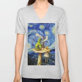 Alice & The Caterpillar Starry Night - Alice In Wonderland Unisex V-Neck