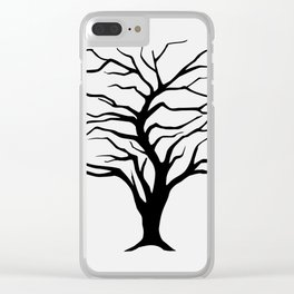 black silhouette of the willow tree without leaves Clear iPhone Case