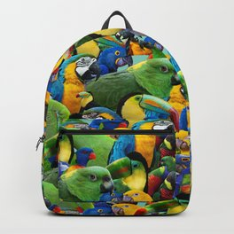 Parrots Print Green Birds Pattern Tropical Print Backpack