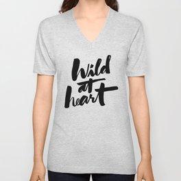 wild at heart x typography Unisex V-Neck
