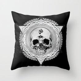 Life Touches The Seeker Ajna Skull Mandala Geometric Triangle Black Throw Pillow