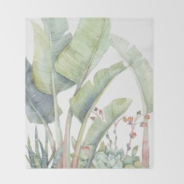 Strelitzia and Succulent Friends Throw Blanket