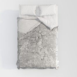 Cleveland White Map Comforters