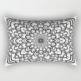 Gem Succulent Mandala B - Black Rectangular Pillow