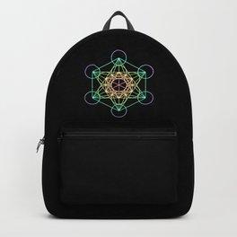 Metatron's Cube- Rainbow on Black Backpack