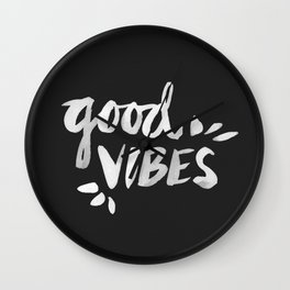 Good Vibes – White Ink Wall Clock