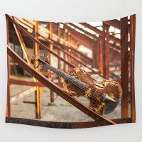 violin Wall Tapestries featuring rust-violin by NicolasGabrielArt