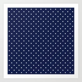 Small White Polka Dots On Navy Blue Background Art Print