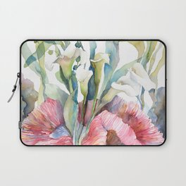 White Calla Lily and Corals Seaweed Watercolor Surreal Botanical Underwater Laptop Sleeve