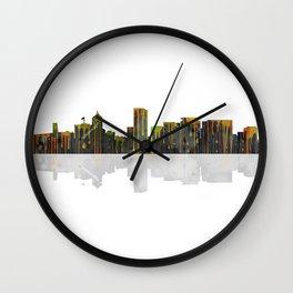 Portland Oregon Skyline BW1 Wall Clock