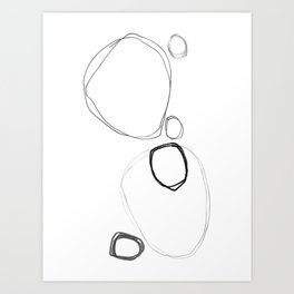Six Stones - Minimalist Abstract Line Drawing Art Print