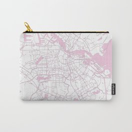 Amsterdam White on Pink Street Map Carry-All Pouch