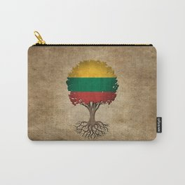 Vintage Tree of Life with Flag of Lithuania Carry-All Pouch