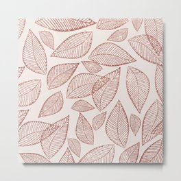 Abstract pink rose gold glitter foliage leaf pattern Metal Print