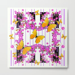 White Color Yellow Butterflies & Pink Flowers Black Metal Print