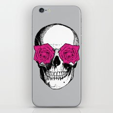 Skull and Roses | Grey and Pink iPhone & iPod Skin
