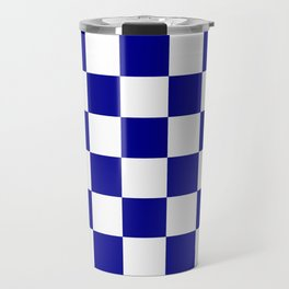 Checkered - White and Dark Blue Travel Mug