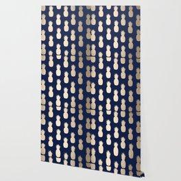 Gold Pineapple Pattern Navy Blue Wallpaper