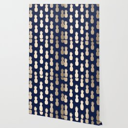 Gold Pineapple Pattern Navy Blue Wallpaper