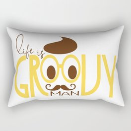 Typography Print Life is Groovy Man Hipster Eyeglasses Mustache Rectangular Pillow