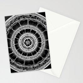 Circle - Mandala - Love Wealth Health Youthfulnes - Black White Stationery Cards