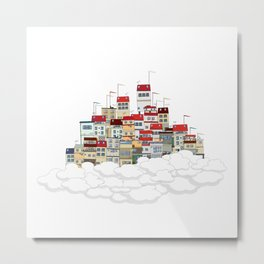 Flying city Metal Print