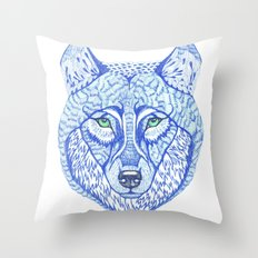 ice wolf Throw Pillow