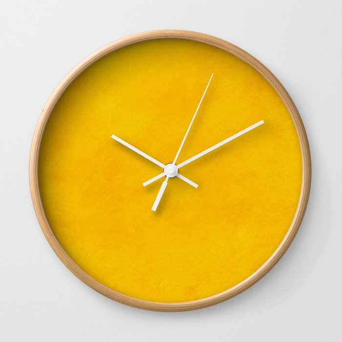 yellow curry mustard color trend plain texture Wall Clock by anarutbre