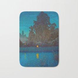 Vintage Japanese Woodblock Print Japanese Farm Village Tall Trees And Pond Bath Mat