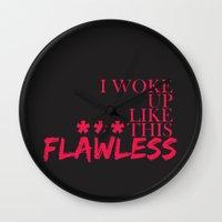 flawless Wall Clocks featuring ***Flawless by Sara Eshak