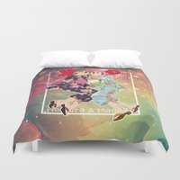 madoka magica Duvet Covers featuring Madoka and Homura in Yukata dress by Neo Crystal Tokyo