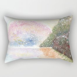 Pink Moon Watercolor Illustration Rectangular Pillow