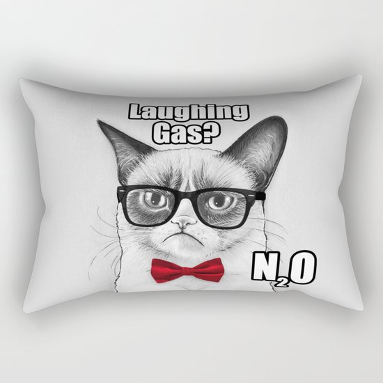 Grumpy Chemistry Cat Geek Science Meme Whimsical Animals in Glasses Rectangular Pillow