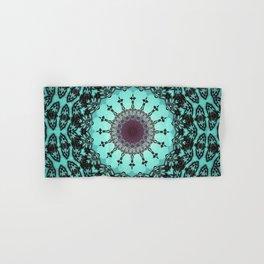 Bright Teal Black Bohemian Mandala Hand & Bath Towel