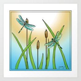 Dragonflies Fly Art Print