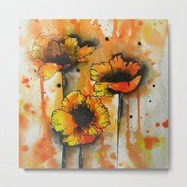 Three Poppies in Line + Wash / Watercolor Painting Metal Print