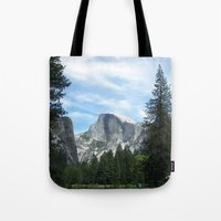 yosemite Tote Bags featuring Yosemite by Angela McCall