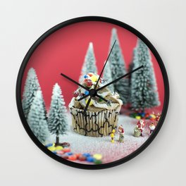 Christmas cupcake Wall Clock