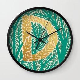 Botanical Metallic Monogram - Letter D Wall Clock