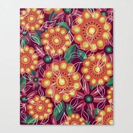 Retro Flowers on Dark Pink Canvas Print