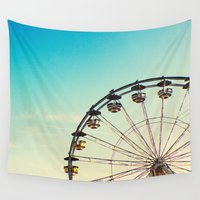 ferris wheel Wall Tapestries featuring Vintage Ferris Wheel by Doucette Designs