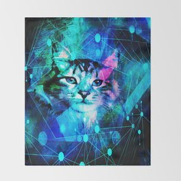 Kitty Cat Laser Lights at the Aleurorave Throw Blanket